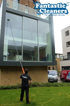 office window cleaning with water fed pole system